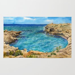 Watercolor sea of Cyprus Rug
