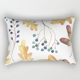Autumn Leaves, Acorns, Blueberries Rectangular Pillow