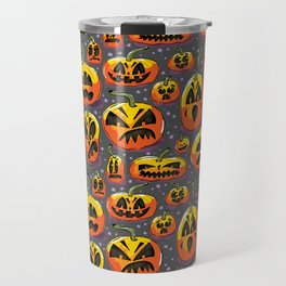 jack o lanterns jackolanterns purple pumpkin halloween creepy spooky holiday theme Travel Mug