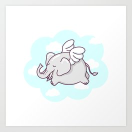 Flying Elephant Art Print