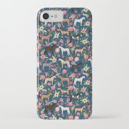 Horse Florals - navy iPhone Case
