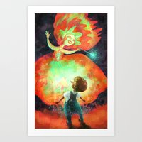 Fairy godmother with Pinocchio Art Print