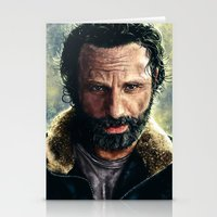 rick grimes Stationery Cards featuring The Walking Dead - Rick Grimes by p1xer