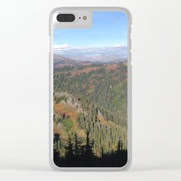 Mountain view shadow trees Clear iPhone Case