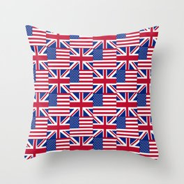 Mix of flag : Usa and uk Throw Pillow