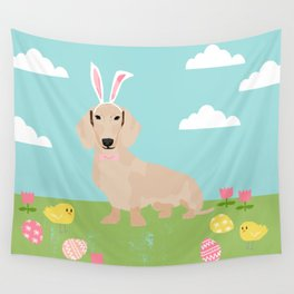 Dachshund dog breed easter pet portrait dog breed gifts pure breed dachsie doxie cream Wall Tapestry