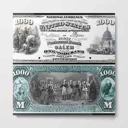 $1,000 Series 1875 National Bank Note - The First National Bank of Salem, Massachusetts Metal Print