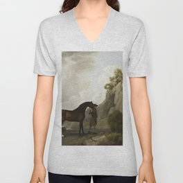 George Stubbs - The Marquess of Rockingham's Arabian Stallion led by a Groom at Creswell Crags Unisex V-Neck