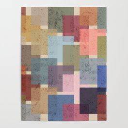 Vintage Colorful Squares Poster