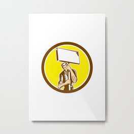 Protester Activist Union Worker Placard Sign Woodcut Metal Print