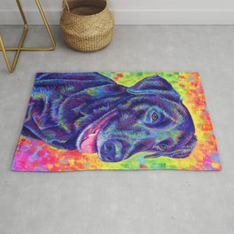 Happy Go Lucky - Colorful Black Lab Rug