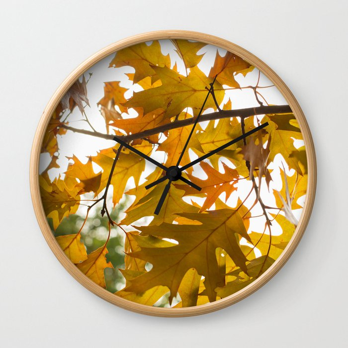 Golden oak leaves Wall Clock