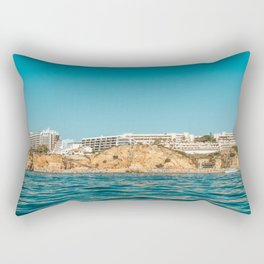 People On Lagos Beach Of Algarve In Portugal, Travel Photo, Large Printable Photography, Ocean Wall Rectangular Pillow