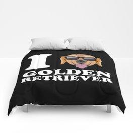 I Love Golden Retriever modern v2 Comforters