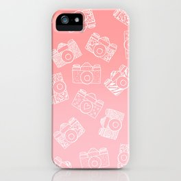 Girly modern hand drawn cameras pattern on pink blush ombre iPhone Case