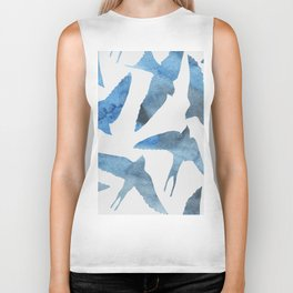 Watercolor birds - sapphire ink Biker Tank