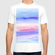New World Horizon in Shades of Blue, Lilac and Pink White Mens Fitted Tee MEDIUM