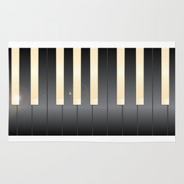 White And Black Piano Keys Rug