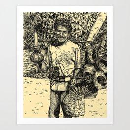 Indonesian basket man Art Print
