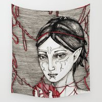 dragon ball Wall Tapestries featuring Merrill: ball of twine  by Anca Chelaru
