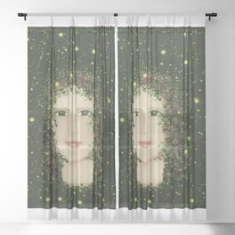 Self Portrait In Abstract Sheer Curtain