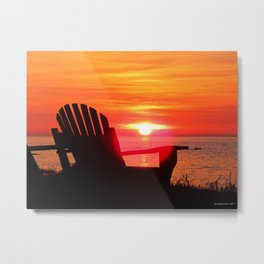 Sunset and the Chair Metal Print