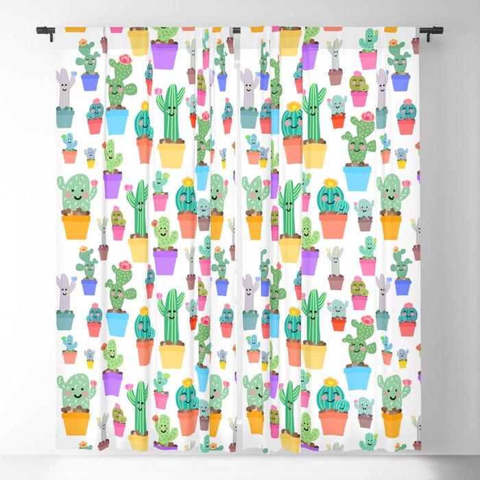 Sunny Happy Cactus Family Blackout Curtain