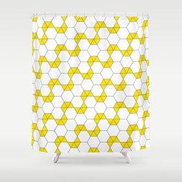 Geometric Pattern 47 (yellow hexagon) Shower Curtain