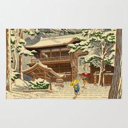 Asano Takeji Snow In Yuki Shrine Vintage Japanese Woodblock Print East Asian Beautiful Art Rug