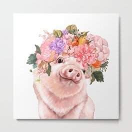 Lovely Baby Pig with Flowers Crown Metal Print