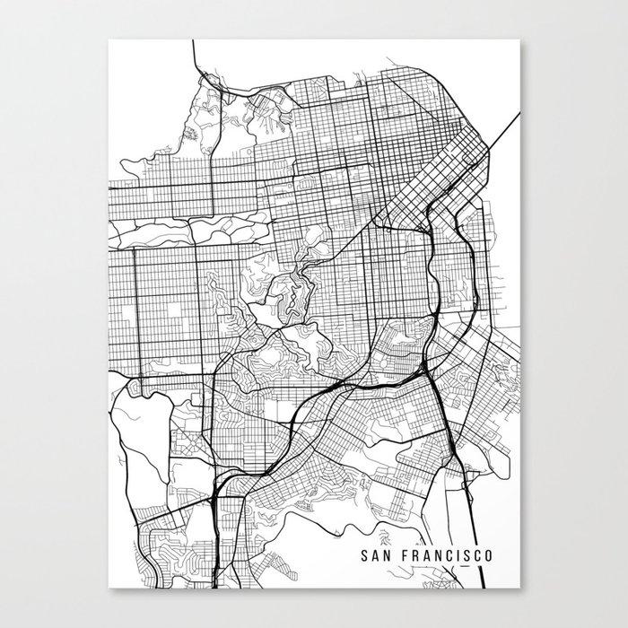 San Francisco Map, California USA - Black & White Portrait Canvas ...