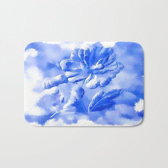 Cyan Painterly Flower Abstract Bath Mat