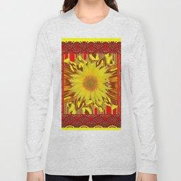 DECORATIVE PATTERN YELLOW SUNFLOWER RED ART Long Sleeve T-shirt