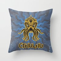 return Throw Pillows featuring Cthulhu return by Enrique Valles
