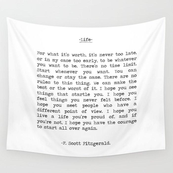 Life quote F. Scott Fitzgerald Wandbehang