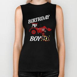 10 Years Old Birthday Design Red Tractor GifDesign  Biker Tank
