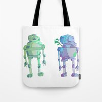 giants Tote Bags featuring Stone Giants by Emily Joan Campbell