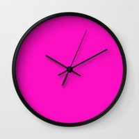 hot pink Wall Clocks featuring hot pink by Julscela