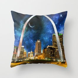 Spacey St. Louis Skyline Throw Pillow