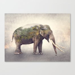 Double exposure of elephant and palm trees at sunset Canvas Print