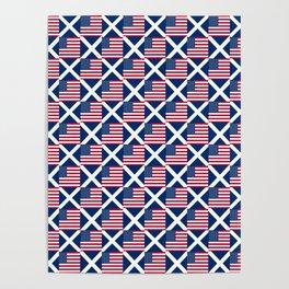 Mix of flag: usa and scotland Poster