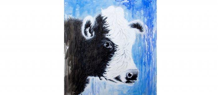 Black and White Cow Acrylic Painting Coffee Mug