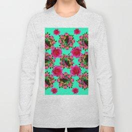 GREEN PEACOCK & PINK ROSE PATTERN ART Long Sleeve T-shirt