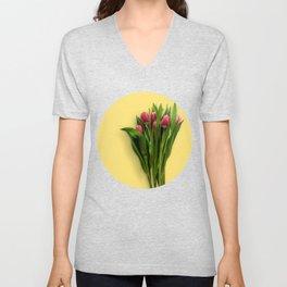 Yellow Bright Light Amber Pink Tulip Blossoms Flatlay Unisex V-Neck