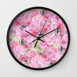 Shocking Pink Flora Gems Wall Clock