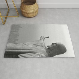 Christ the Redeemer, Rio de Janeiro, Brazil death defying dare devil black and white photography Rug