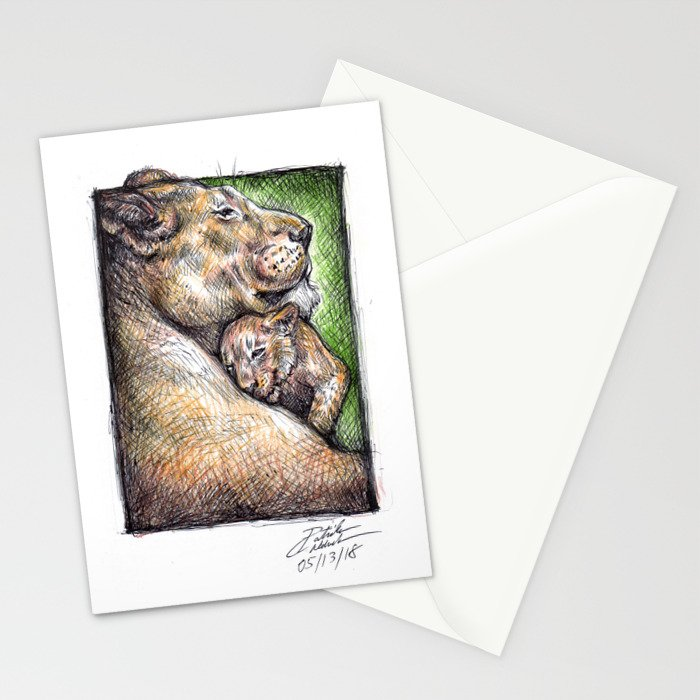 Lioness and Cub Stationery Cards