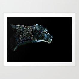 Blue Cheetah Art Print