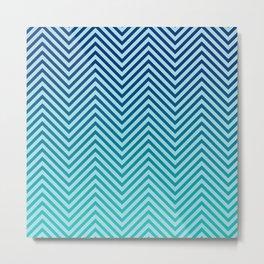 Sea Kiss Blue Chevron Wave Metal Print