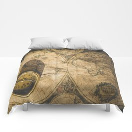 old nautical map with compass Comforters
